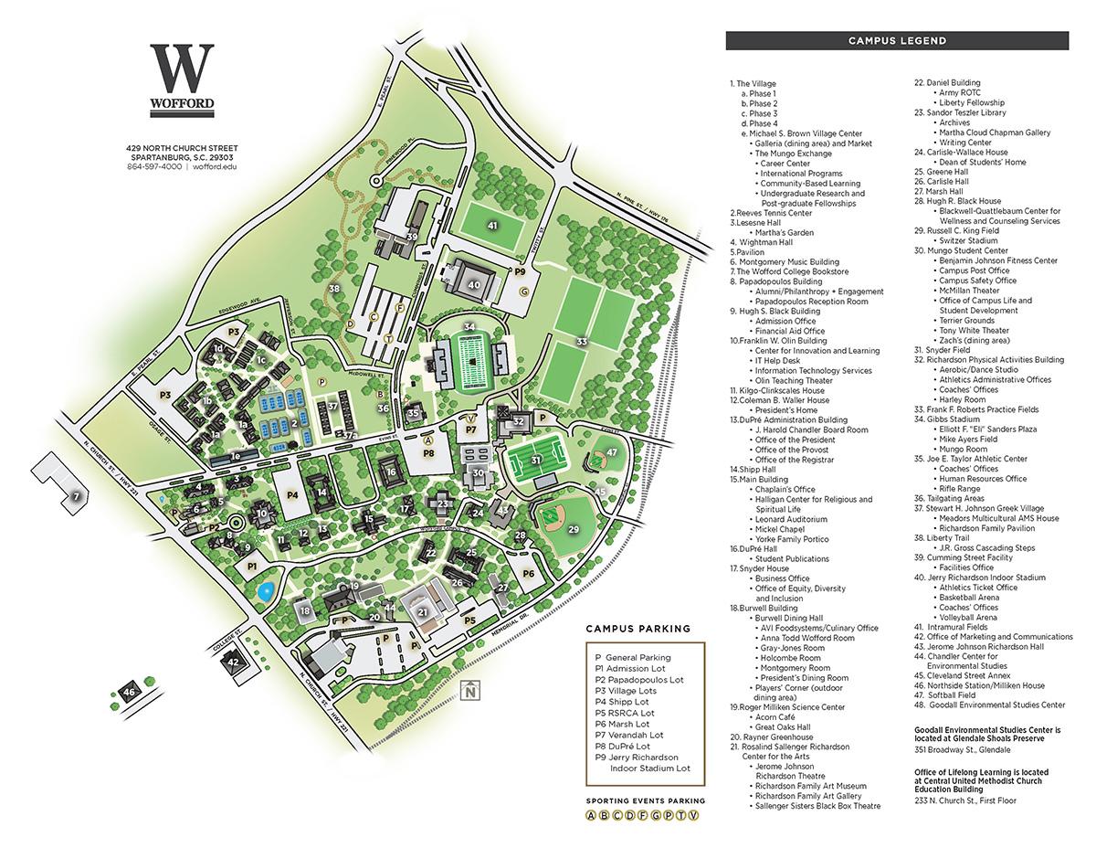 spartanburg community college campus map Wofford College Campus Map spartanburg community college campus map